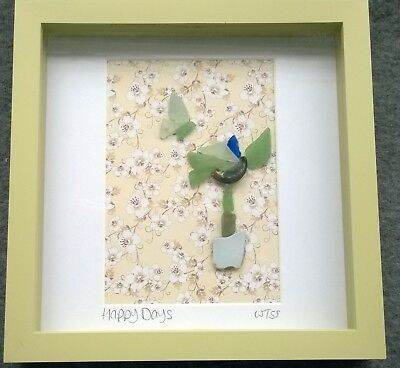 Framed Irish Sea Glass art ~  Flower Plant Butterfly ~ Mother's Day gift Ireland
