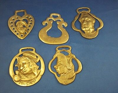 Lot of 5 Brass Horse Saddle Harness Medallions