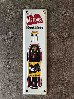 Vintage Drink Mason's Root Beer Tall Advertising Soda Door Push Plate