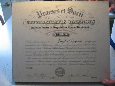 1903 Yale University Diploma Ziegler Sargent, New Haven, Connecticut