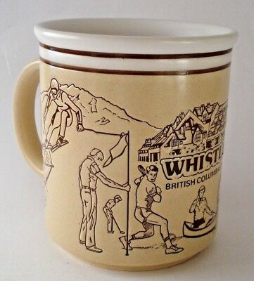 Whistler BC vintage 1980s bas relief mug cup - skiing sports fishing canoeing