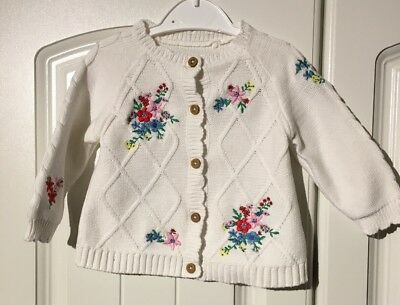 TU Baby Girls 3-6 Months Long Sleeved White Floral Cardigan (A409)