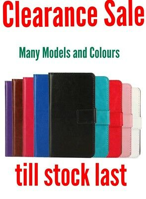 Clearance - Leather Phone Wallet Flip Book Case Cover for many phones