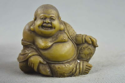 China Collectable Handwork Old Shoushan Stone Carve Buddha Hold Wealthy Statue