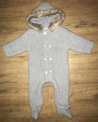 Mebi Root UNISEX Grey Knitted Fur All In One Baby Suit