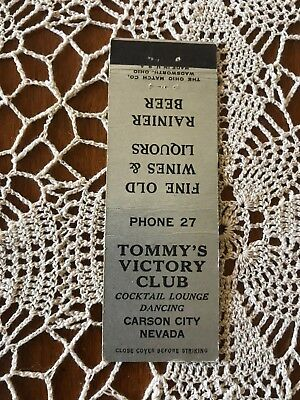 Tommys Victory Club, Carson City, Nevada casino (Fuller 1933-54) matchbook cover