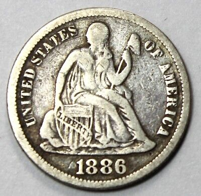 1886, Seated Liberty 10 Cent Piece, Very Fine, Ungraded