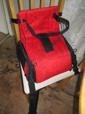 Hoppop toddlers travelling booster seat for dining + changing bag - red & black