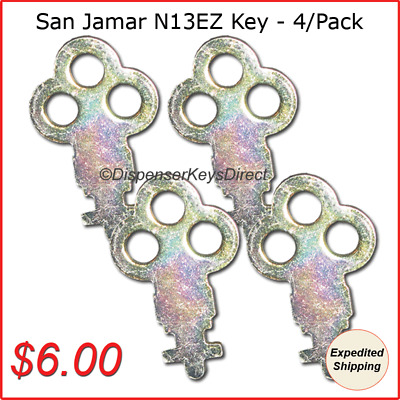 San Jamar N13EZ Key for C-fold/Multifold & Crank Roll Towel Dispensers (4/pk.)