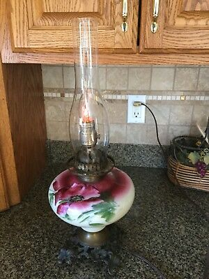 "Vintage Kerosene Lamp Made Into Real"" Working Lamp, Gorgeous Antique"