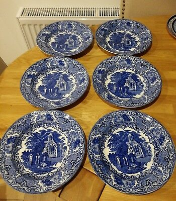 Antique Abbey George Jones & Sons x 6 Blue & White Bowl Plate Dish 23 cm, RARE