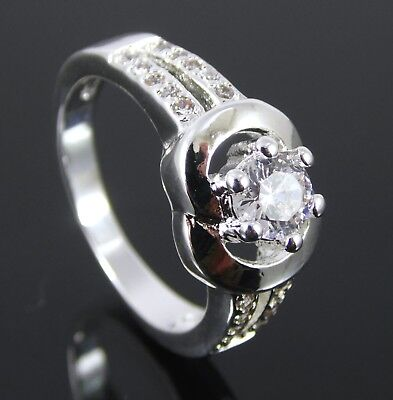 Silver Plated Clear Crystal Solitaire With Accents Ring. Uk Size T. Us 10 (21)