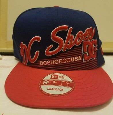 Brand New Dc Shoes Co Hat Adjustable Snapback Osfa Red Blue Mens Baseball Cap