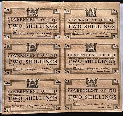 FIJI P-1942  WW.11 Emergency Issue Two Shillings. Rare UNCUT Sheet of 6 Notes