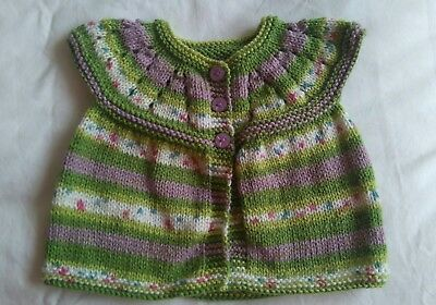 New Hand Knitted Lilac Green Stripe Baby Girl Short Sleeve Cardigan Age 6 Months