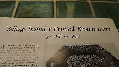 1970s/1980 Antique Magazine article on Yellow Transfer Printed Brown-ware