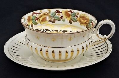 "Mustache CUP & SAUCER, porcelain, French, Limoges, gilt, rose,  c1880, 7"" Rococo"