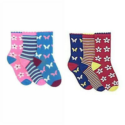 3 Pairs Kids Ankle Socks Cotton Rich UK 9-6 Girls Butterfly Stripe Blue Pink