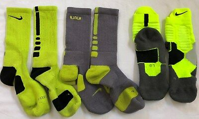 Nike Elite Basketball Socks Dri-Fit Lot of 3 Pair Lebron Gray Volt Yellow Large