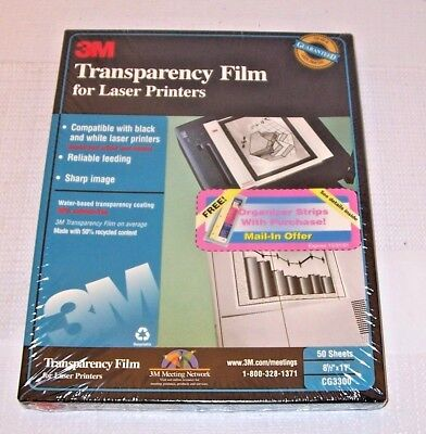3M Transparency Film CG3300 for Laser Printers 50 Sheets Sealed 8 1/2 X 11""