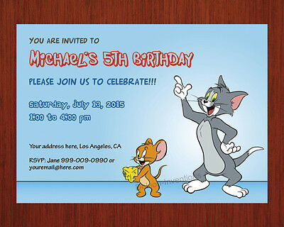 TOM Jerry Birthday Invitation Party Personalized Printable