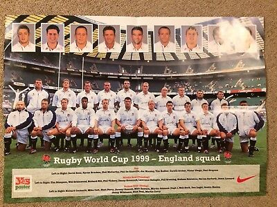England Rugby World Cup 1999 Squad Poster (59 X 42cm) Memorabilia