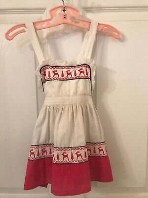 vintage 1950's baby pinafore, red and white, deer,  full skirt