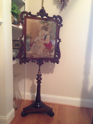 Antique rosewood fire screen, petit point needlework, mother and child, 1800's