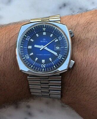 VINTAGE BREIL  OVER SIZE :39.5mm BLUE DIAL JUST SERVICED SWISS MADE RARE MODEL