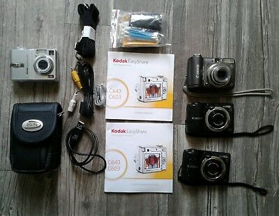 Lot of Kodak & Canon Cameras Kodak Easyshare C463, Canon A590 & A1400 Used Tech.