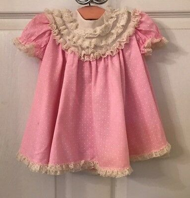vintage 1950's baby girl dress pink with dots, ruffles