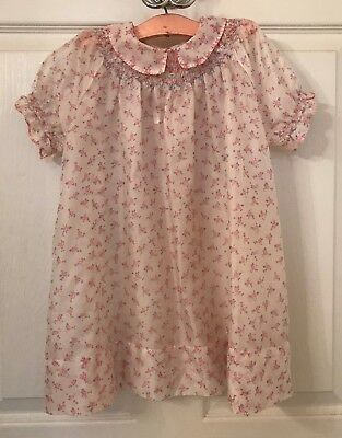 vintage 1950's baby girl dress, rayon/nylon, ivory with pink roses print