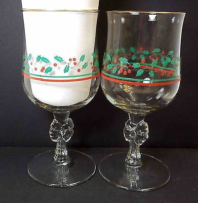 Set 2 Arby's Holly & Berries Bow stemmed goblets Libbey 1980s 10 oz Christmas