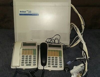 Aristel AV38 Phone System and 2 Used Handsets including tail and krone module