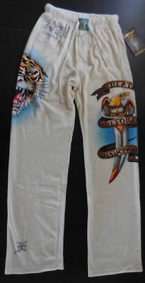 Ed Hardy Men's Open Mouth Tiger Velour Sleep Pants Death Before Dishonor New