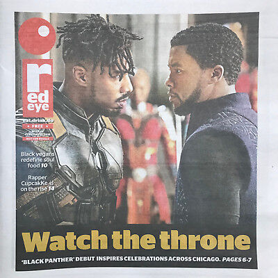 """'black Panther' (2018) Chicago Red Eye Opening Day Tabloid Newspaper"""