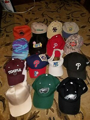 Lot of 15 Misc. Hats MLB Phillies Eagles NCAA Vintage New Beer Strap Snapback