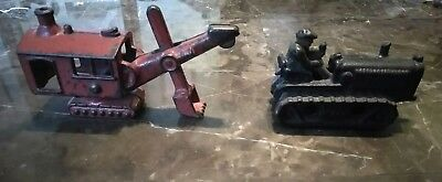 Vintage Hubley Red Cast Iron Steam Shovel Digger Toy 1930s and bulldozer