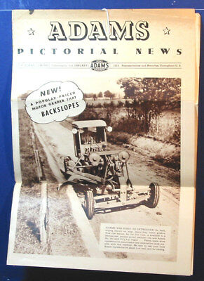 Vintage 1939 Adams Grader Tractor Co.Construction Equipment Brochure News Paper.