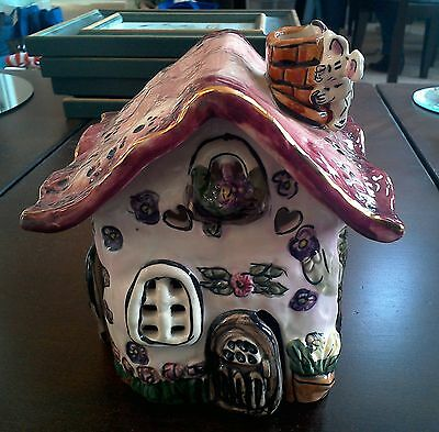 Heather Goldminc Let's Play House Forever Tea Light Cat/Mouse Pink Candle Holder