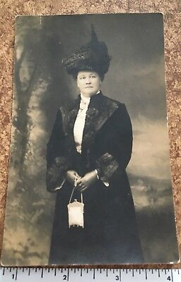 Vintage RPPC Woman with Silver Mesh Purse