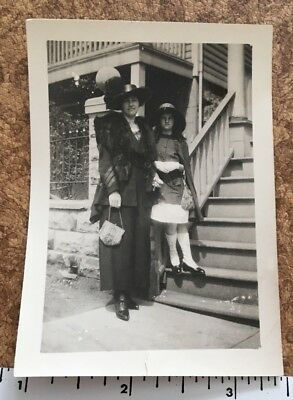 Vintage Photo of Woman and Daughter, Silver Mesh Purse