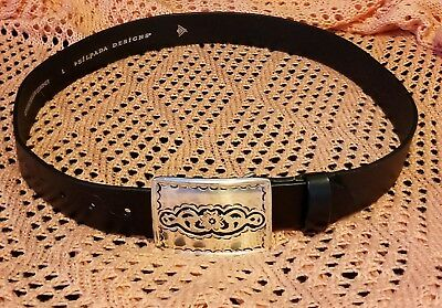 "Silpada Designs 1.5""Wide Black Leather Belt Silver Buckle Fits  (29"" to 35"")"