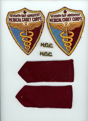 Late 1940s Seventh Day Adventist Medical Cadet Corps patch lot and brass