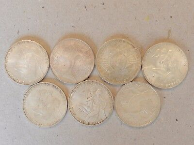 Lot Of 7 Silver 1972 Olympic Coins 10 Deutsche Mark