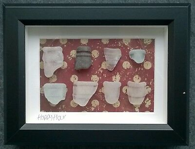 Unique Framed Vintage Irish Sea Glass art Ireland Happy Hour St Patrick's gift