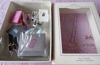 NEW ~ 2005 Hallmark Keepsake Barbie Step Out in Style Ornament set of 7