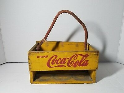 1930's Coca Cola Wood & Masonite Yellow Six Pack Carrier For the home