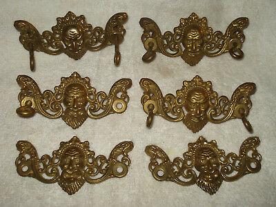 6 Antique Face Angry Man Brass Drawer Pull Back Plate Victorian Ornate Set Pair