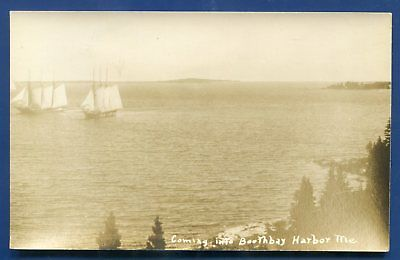 Coming into Boothbay harbor Maine me real photo postcard RPPC